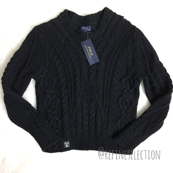 Polo Ralph Lauren Wool Black Cable Knit Sweater